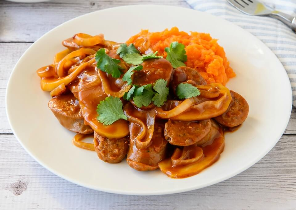 Devilled Sausages With Sweet Potato Mash