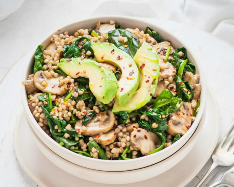 Spinach-Mushroom-Avocado-Buckwheat-Bowl-