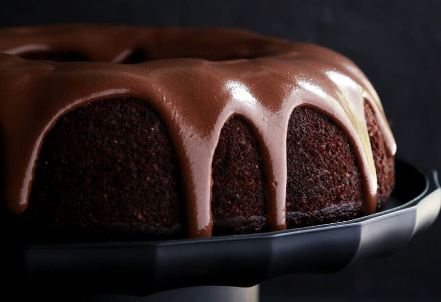 chocolate cake and melted chocolate on top