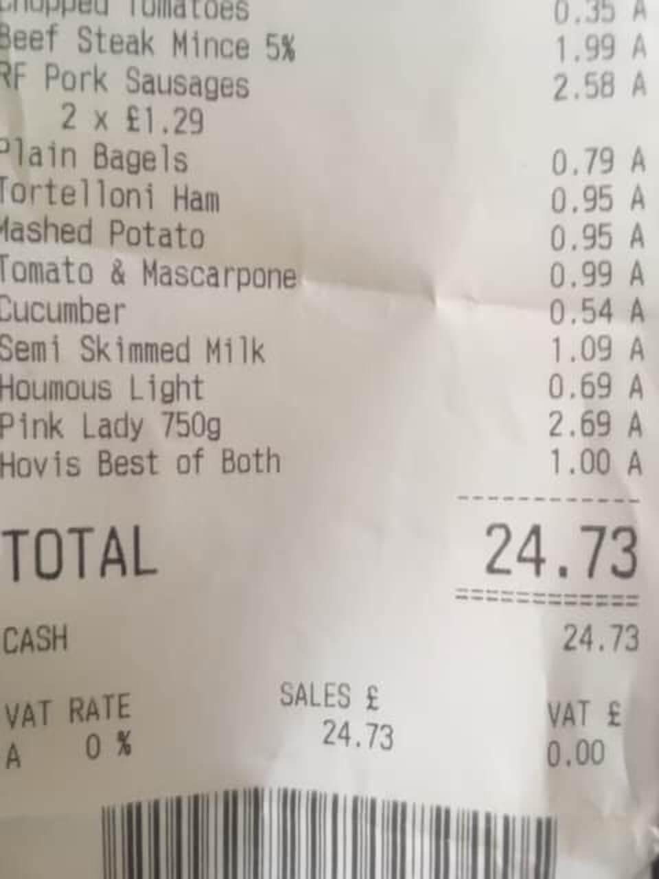 Katie's receipt