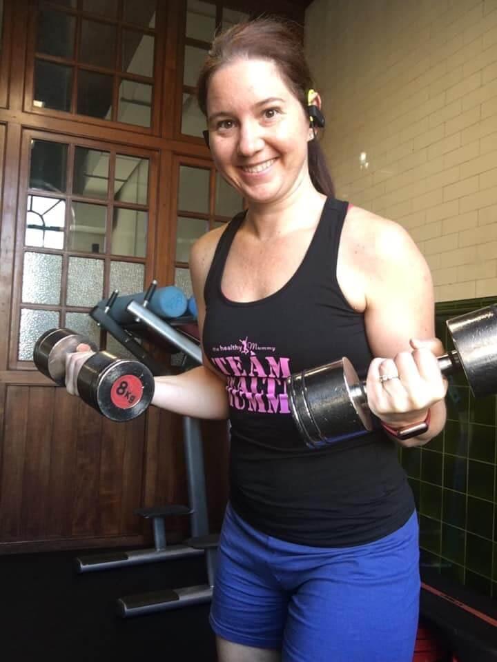 Nikki-Eckley-mum-doing-weights